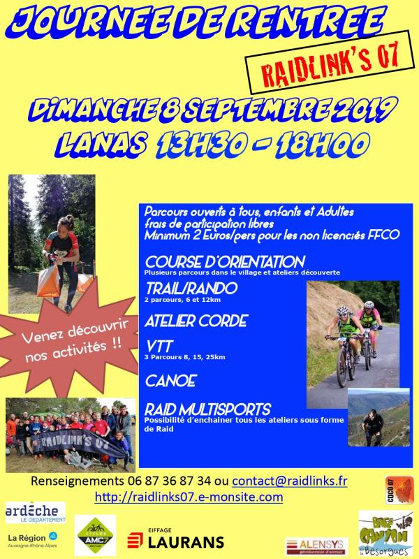 Affiche journee de rentree raidlinks 2019